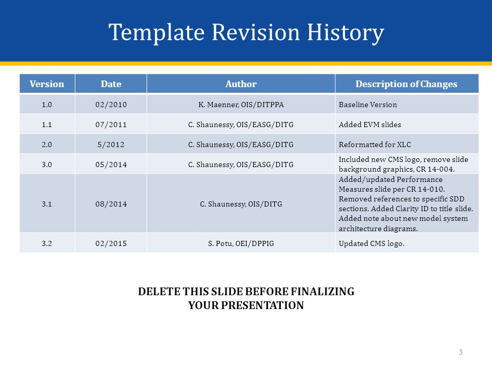 Template Revision History DELETE THIS SLIDE BEFORE FINALIZING YOUR PRESENTATION VersionDateAuthorDescription of Changes 1.002/2010K.