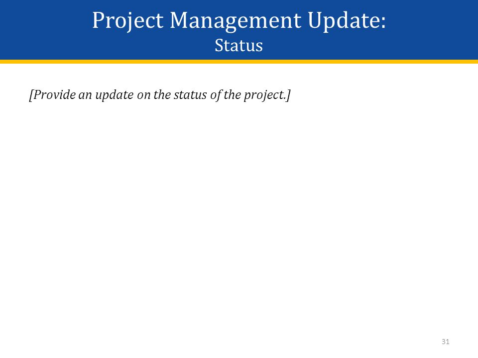 Project Management Update: Status [Provide an update on the status of the project.] 31