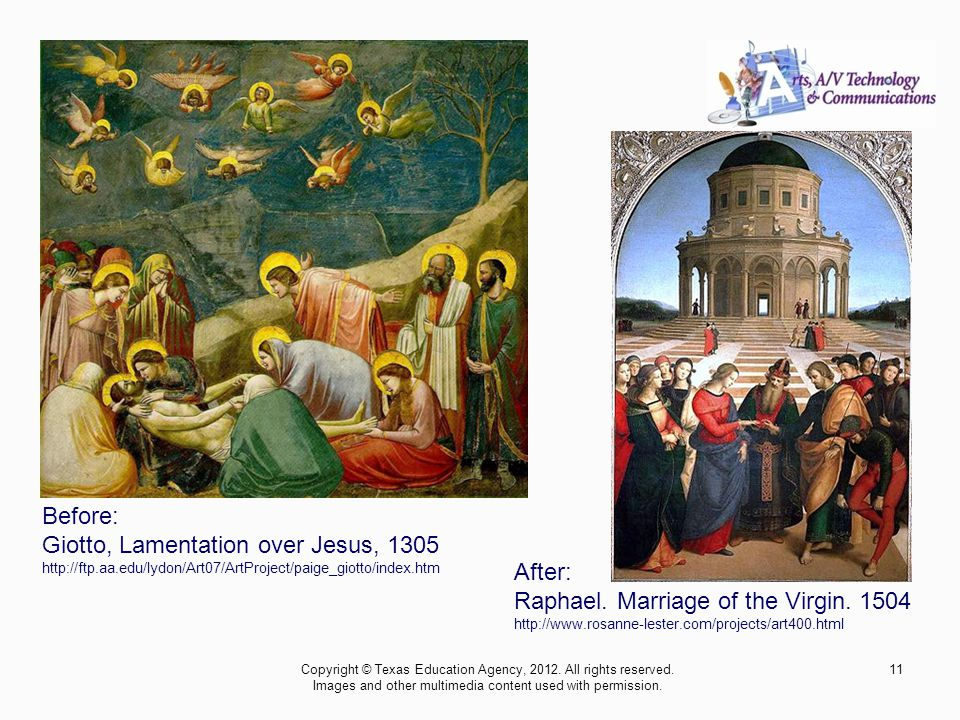Before: Giotto, Lamentation over Jesus, 1305 http://ftp.aa.edu/lydon/Art07/ArtProject/paige_giotto/index.htm After: Raphael.