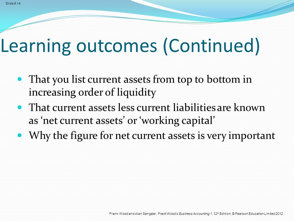 Frank Wood and Alan Sangster, Frank Wood's Business Accounting 1, 12 th Edition, © Pearson Education Limited 2012 Slide 8.14 Learning outcomes (Contin