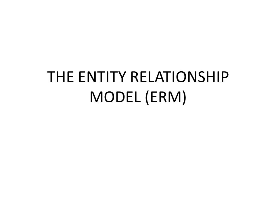 THE ENTITY RELATIONSHIP MODEL (ERM)