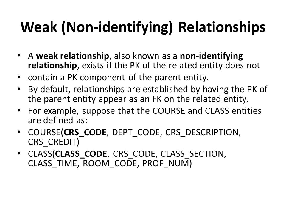 Weak (Non-identifying) Relationships A weak relationship, also known as a non-identifying relationship, exists if the PK of the related entity does not contain a PK component of the parent entity.