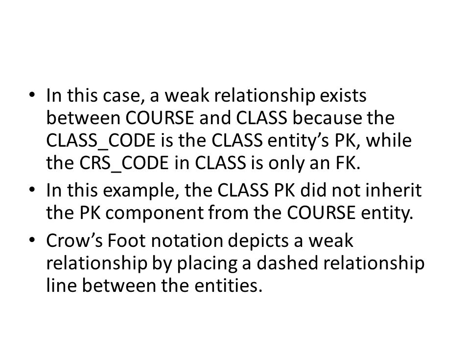 In this case, a weak relationship exists between COURSE and CLASS because the CLASS_CODE is the CLASS entity's PK, while the CRS_CODE in CLASS is only an FK.