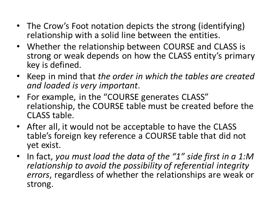 The Crow's Foot notation depicts the strong (identifying) relationship with a solid line between the entities.