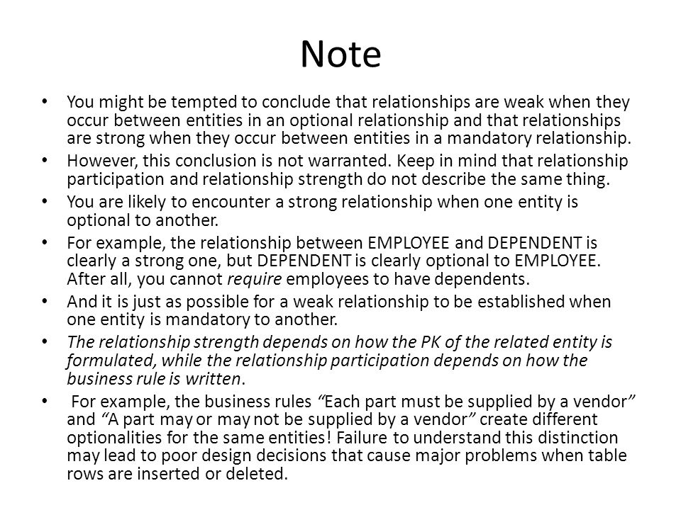 Note You might be tempted to conclude that relationships are weak when they occur between entities in an optional relationship and that relationships are strong when they occur between entities in a mandatory relationship.