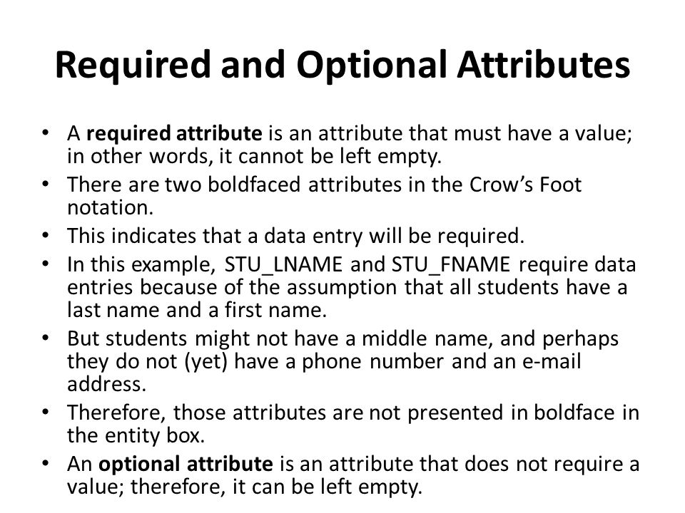 Required and Optional Attributes A required attribute is an attribute that must have a value; in other words, it cannot be left empty.