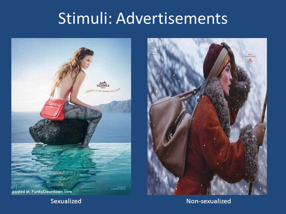 Stimuli: Advertisements Sexualized Non-sexualized