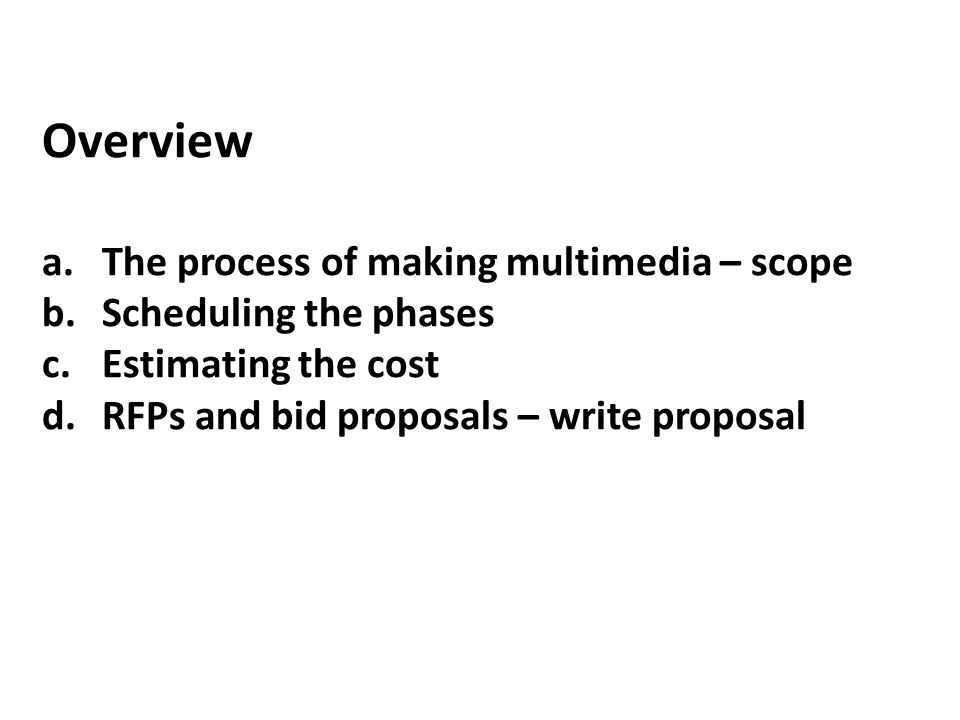 a.The Process of Making Multimedia 1.Idea analysis 2.Pre-testing 3.Task planning 4.Development 5.Delivery