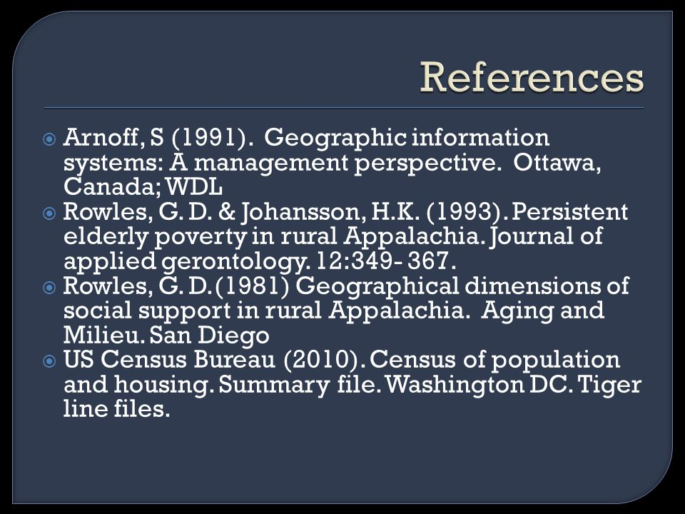  Arnoff, S (1991). Geographic information systems: A management perspective.