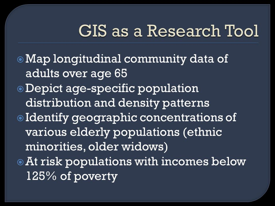  Map longitudinal community data of adults over age 65  Depict age-specific population distribution and density patterns  Identify geographic concentrations of various elderly populations (ethnic minorities, older widows)  At risk populations with incomes below 125% of poverty
