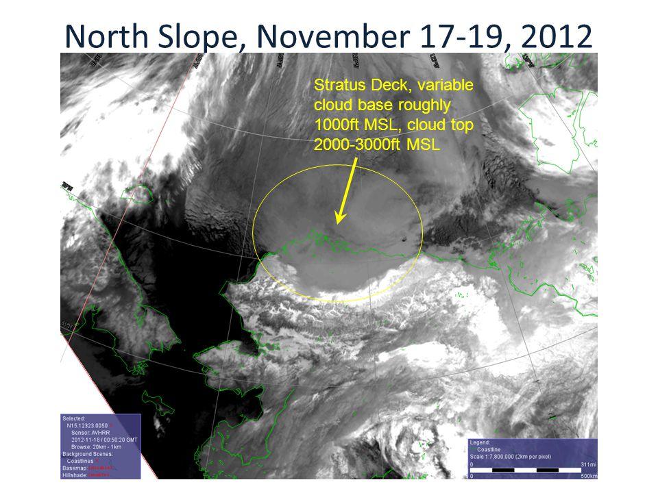 North Slope, November 17-19, 2012 Stratus Deck, variable cloud base roughly 1000ft MSL, cloud top 2000-3000ft MSL