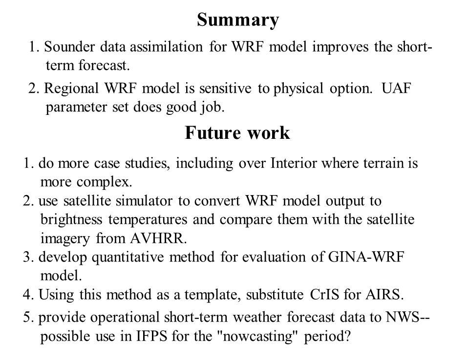 Summary 1. Sounder data assimilation for WRF model improves the short- term forecast.