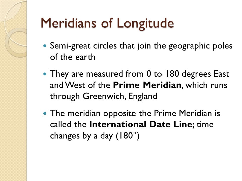 Meridians of Longitude Semi-great circles that join the geographic poles of the earth They are measured from 0 to 180 degrees East and West of the Prime Meridian, which runs through Greenwich, England The meridian opposite the Prime Meridian is called the International Date Line; time changes by a day (180°)