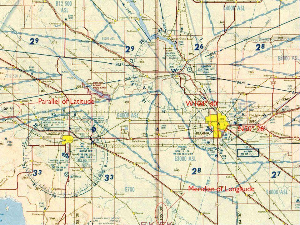 50° 30' Parallel of Latitude N50° 26' Meridian of Longitude W104° 40'
