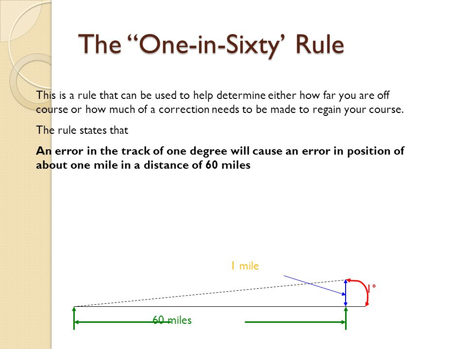 The One-in-Sixty' Rule This is a rule that can be used to help determine either how far you are off course or how much of a correction needs to be made to regain your course.