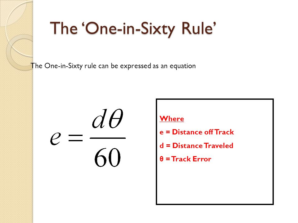 The 'One-in-Sixty Rule' The One-in-Sixty rule can be expressed as an equation Where e = Distance off Track d = Distance Traveled θ = Track Error