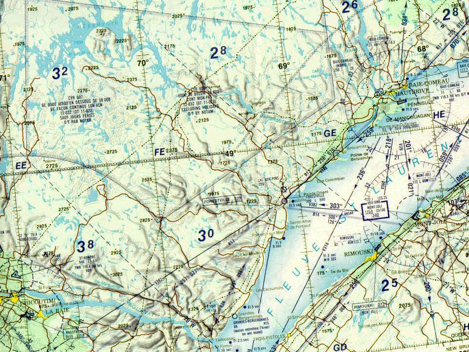 World Aeronautical Chart (WAC) Mainly used for visual navigation at high speeds and high altitudes over long distances Rarely used anymore It has a scale of 1:1,000,000 and uses the Lambert Conformal Conic Projection