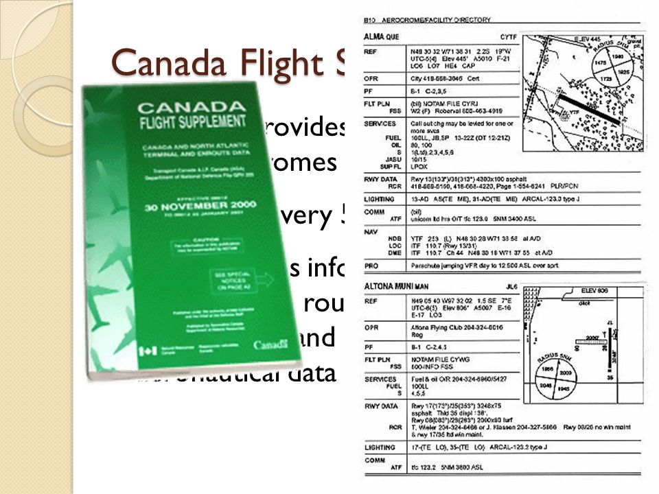 Lists and provides information about all land aerodromes in Canada Is updated every 56 days Also provides information about preferred IFR routing, intercept orders, obstructions and other miscellaneous aeronautical data Canada Flight Supplement