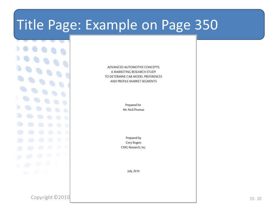 Title Page: Example on Page 350 Copyright ©2010 Pearson Education, Inc.