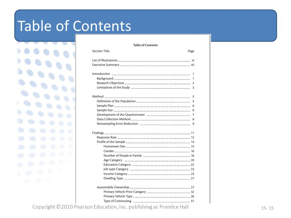 Table of Contents Copyright ©2010 Pearson Education, Inc. publishing as Prentice Hall 15- 15