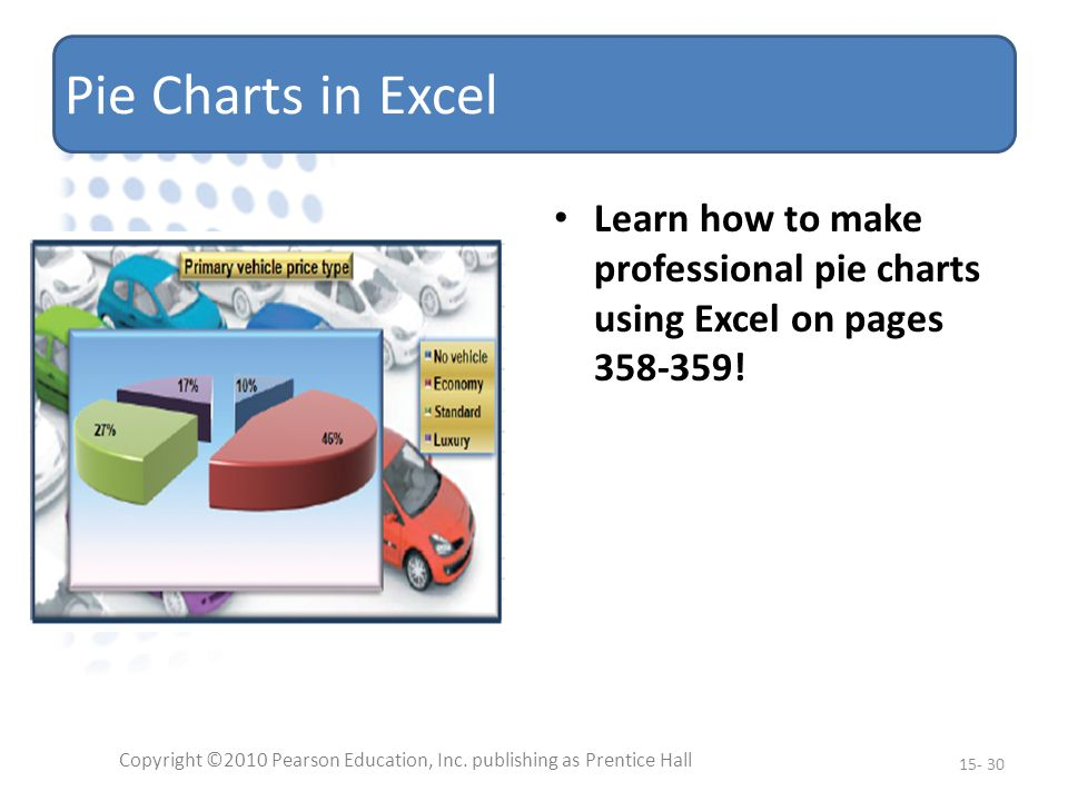Pie Charts in Excel Learn how to make professional pie charts using Excel on pages 358-359.