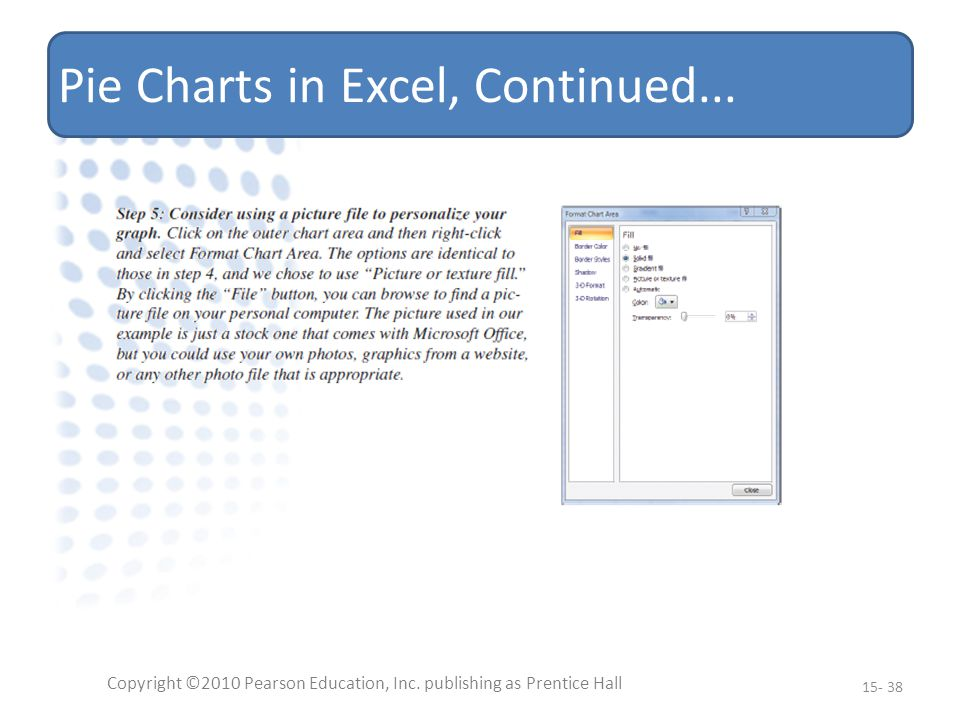 Pie Charts in Excel, Continued... Copyright ©2010 Pearson Education, Inc.