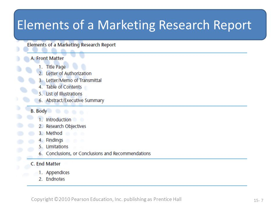 Elements of a Marketing Research Report Copyright ©2010 Pearson Education, Inc.