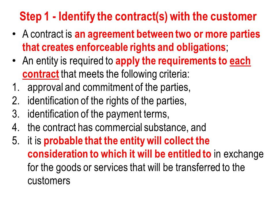 Step 2 – Identify the performance obligations in the contract Performance obligations are promises in a customer s contract to transfer to the customer goods or services that are distinct ; In determining whether good s or services are distinct, a company considers if the customer can benefit from the goods or services on its own or together with other resources that are readily available to the customer.