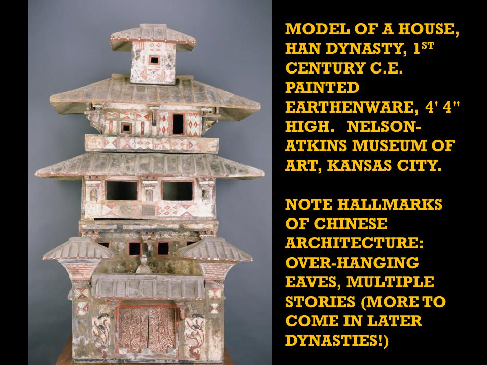 MODEL OF A HOUSE, HAN DYNASTY, 1 ST CENTURY C.E. PAINTED EARTHENWARE, 4 4 HIGH.