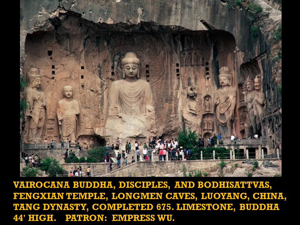 VAIROCANA BUDDHA, DISCIPLES, AND BODHISATTVAS, FENGXIAN TEMPLE, LONGMEN CAVES, LUOYANG, CHINA, TANG DYNASTY, COMPLETED 675.