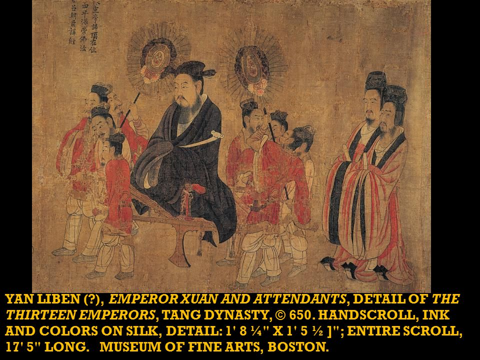 YAN LIBEN ( ), EMPEROR XUAN AND ATTENDANTS, DETAIL OF THE THIRTEEN EMPERORS, TANG DYNASTY, © 650.