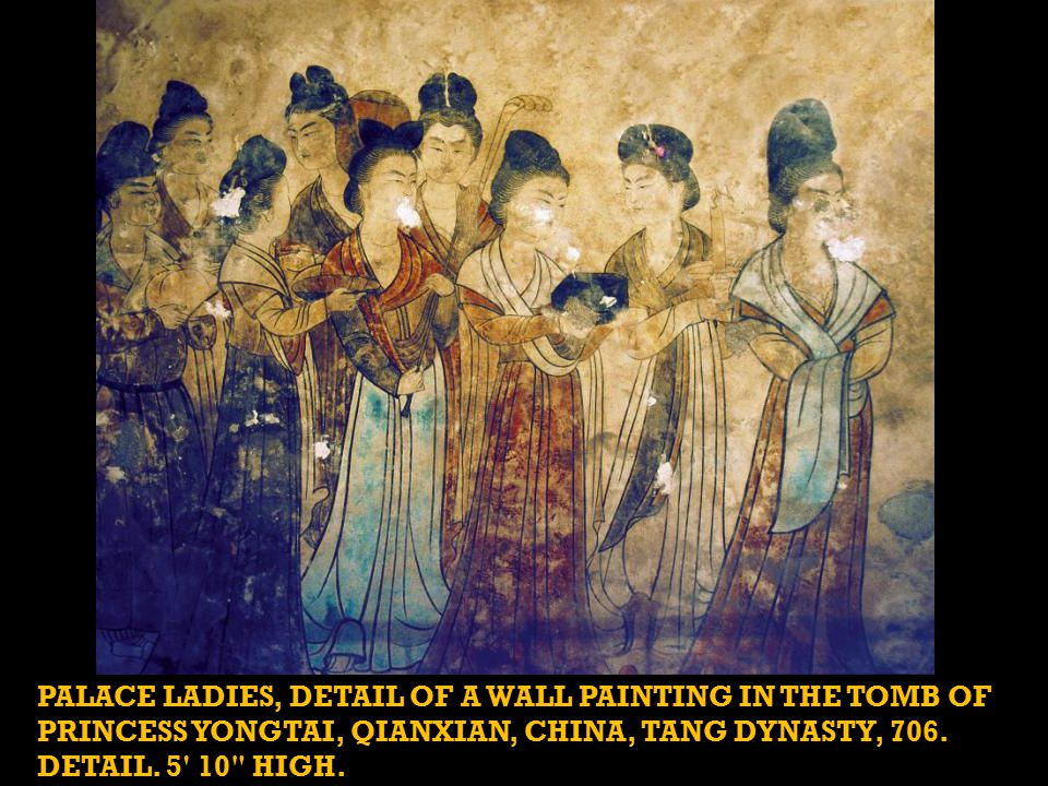 PALACE LADIES, DETAIL OF A WALL PAINTING IN THE TOMB OF PRINCESS YONGTAI, QIANXIAN, CHINA, TANG DYNASTY, 706.