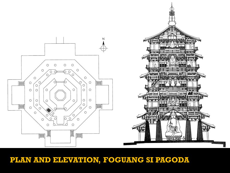 PLAN AND ELEVATION, FOGUANG SI PAGODA