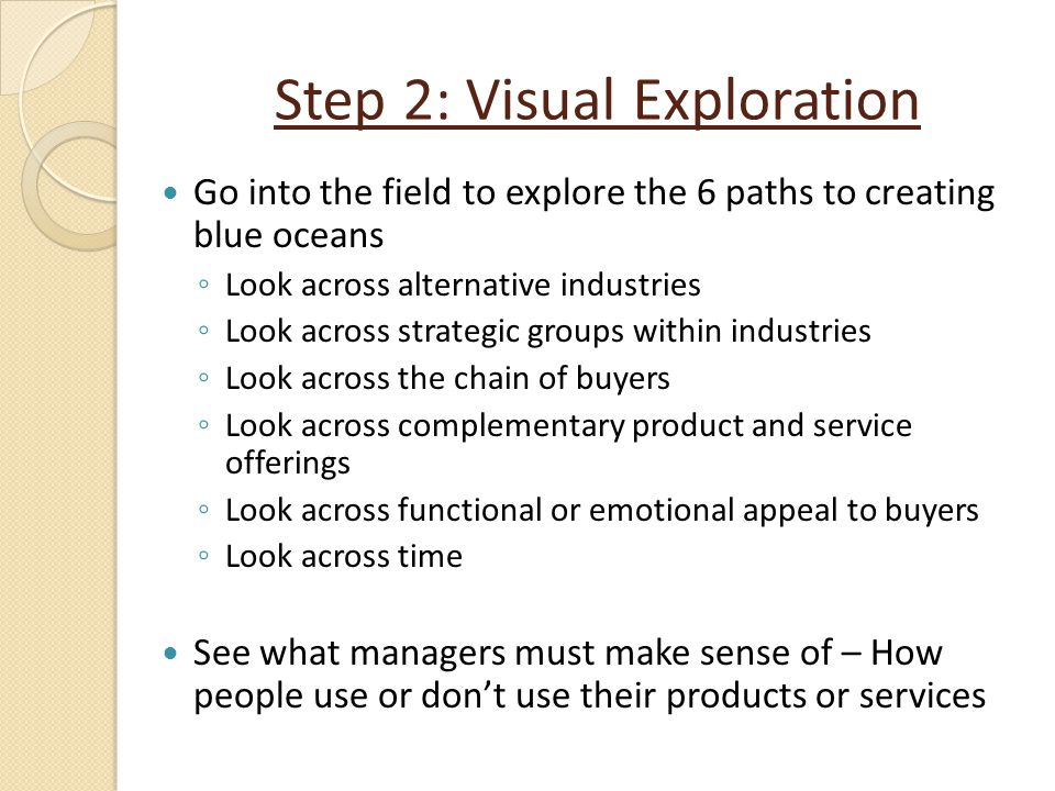 Step 2: Visual Exploration Go into the field to explore the 6 paths to creating blue oceans ◦ Look across alternative industries ◦ Look across strateg