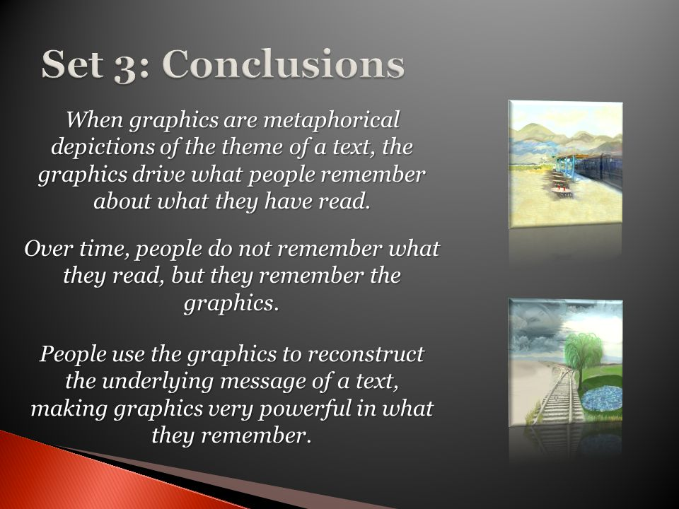 When graphics are metaphorical depictions of the theme of a text, the graphics drive what people remember about what they have read. Over time, people