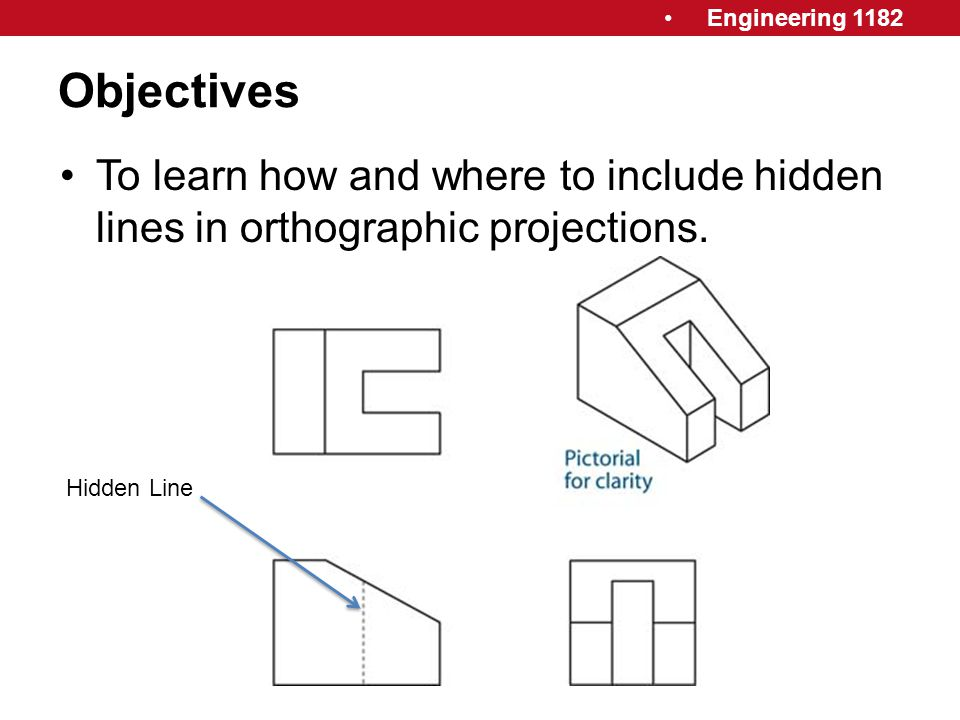 Engineering 1182 Objectives To learn how and where to include hidden lines in orthographic projections. Hidden Line