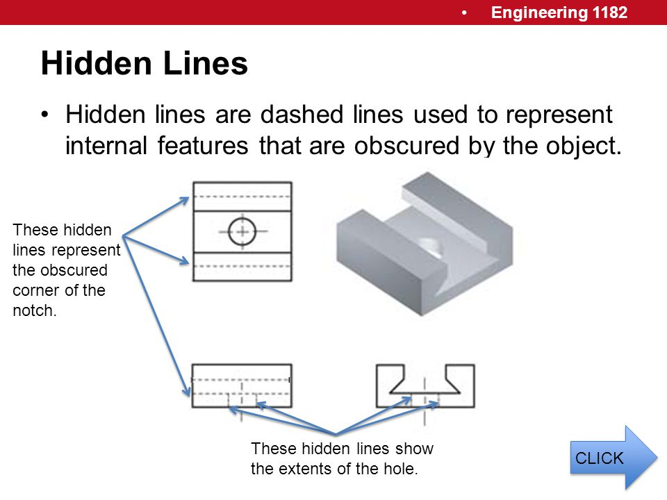 Engineering 1182 Hidden Lines Hidden lines are dashed lines used to represent internal features that are obscured by the object. These hidden lines re