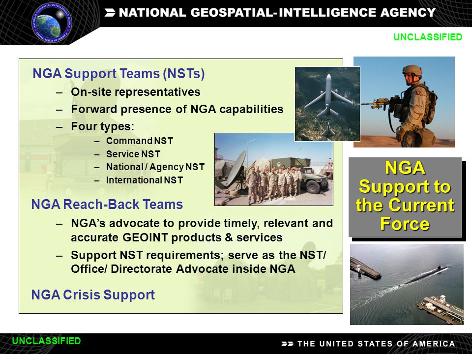 10 NGA Support to the Current Force NGA Support Teams (NSTs) –On-site representatives –Forward presence of NGA capabilities –Four types: –Command NST –Service NST –National / Agency NST –International NST NGA Reach-Back Teams –NGA's advocate to provide timely, relevant and accurate GEOINT products & services –Support NST requirements; serve as the NST/ Office/ Directorate Advocate inside NGA NGA Crisis Support UNCLASSIFIED