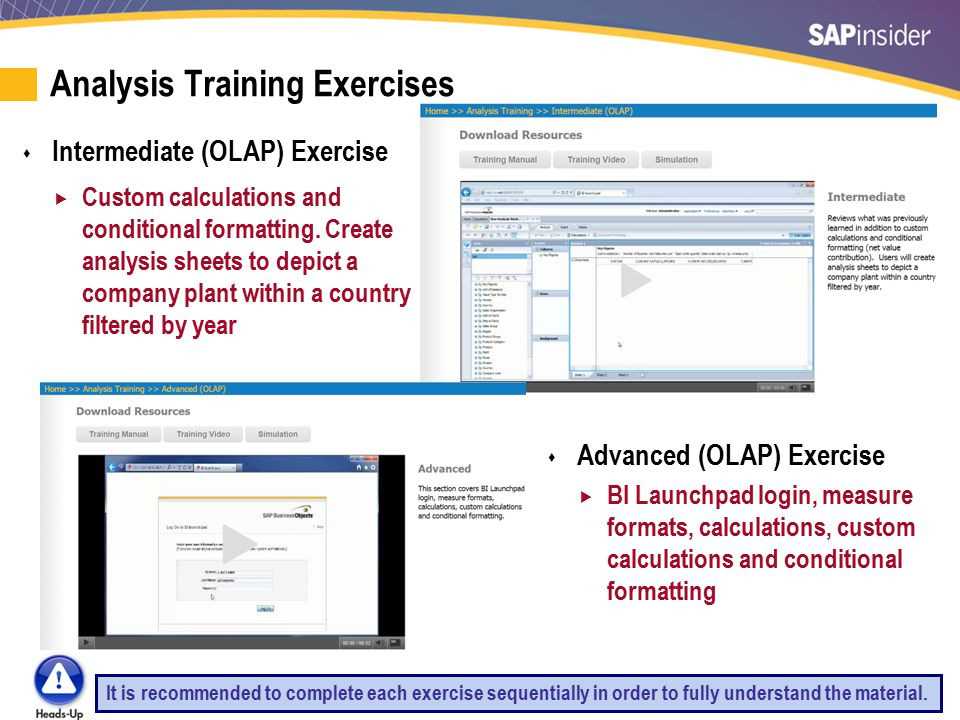 11 Analysis Training Exercises  Intermediate (OLAP) Exercise  Custom calculations and conditional formatting.
