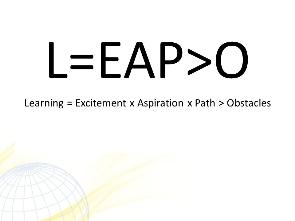 L=EAP>O Learning = Excitement x Aspiration x Path > Obstacles