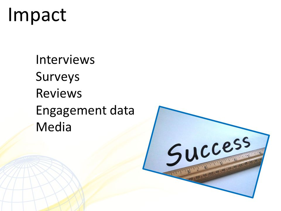 Impact Interviews Surveys Reviews Engagement data Media