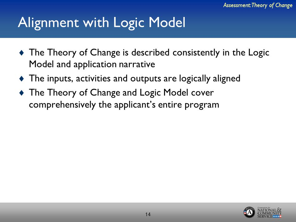 Alignment with Logic Model  The Theory of Change is described consistently in the Logic Model and application narrative  The inputs, activities and