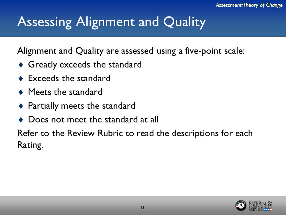 Assessing Alignment and Quality Alignment and Quality are assessed using a five-point scale:  Greatly exceeds the standard  Exceeds the standard  Meets the standard  Partially meets the standard  Does not meet the standard at all Refer to the Review Rubric to read the descriptions for each Rating.