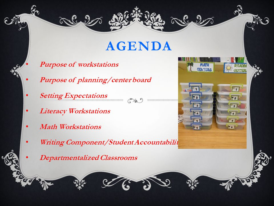 AGENDA Purpose of workstations Purpose of planning/center board Setting Expectations Literacy Workstations Math Workstations Writing Component/Student Accountability Departmentalized Classrooms