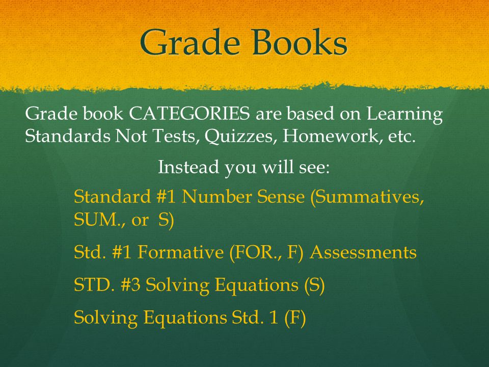Grade Books Grade book CATEGORIES are based on Learning Standards Not Tests, Quizzes, Homework, etc.