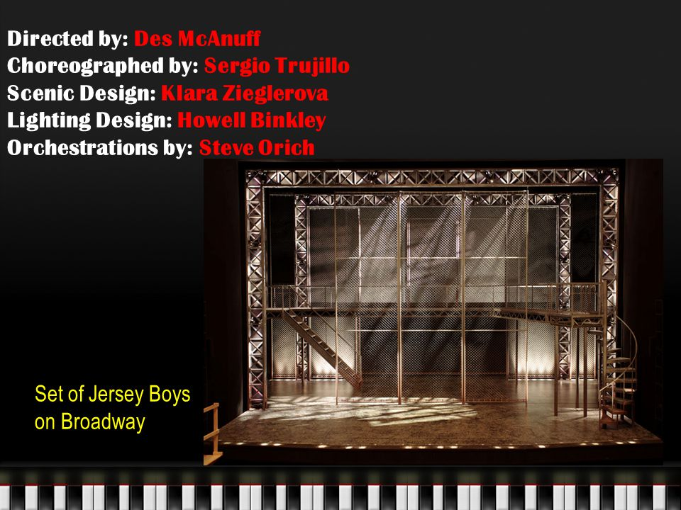 Directed by: Des McAnuff Choreographed by: Sergio Trujillo Scenic Design: Klara Zieglerova Lighting Design: Howell Binkley Orchestrations by: Steve Orich Set of Jersey Boys on Broadway