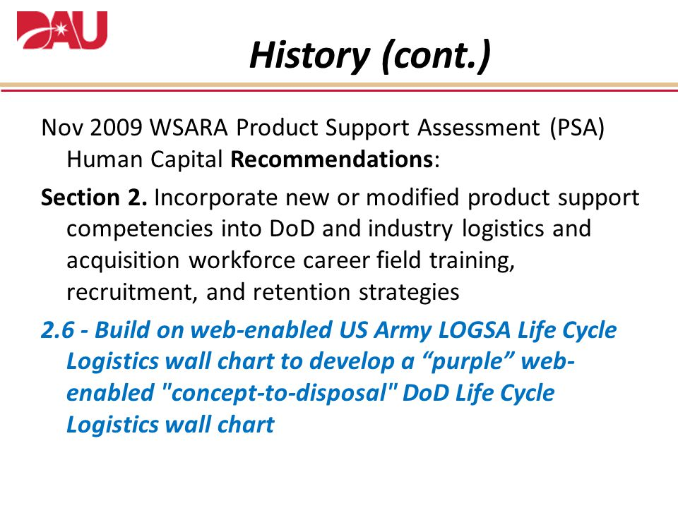 Nov 2009 WSARA Product Support Assessment (PSA) Human Capital Recommendations: Section 2.