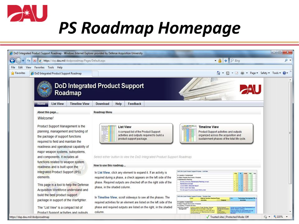 PS Roadmap Homepage