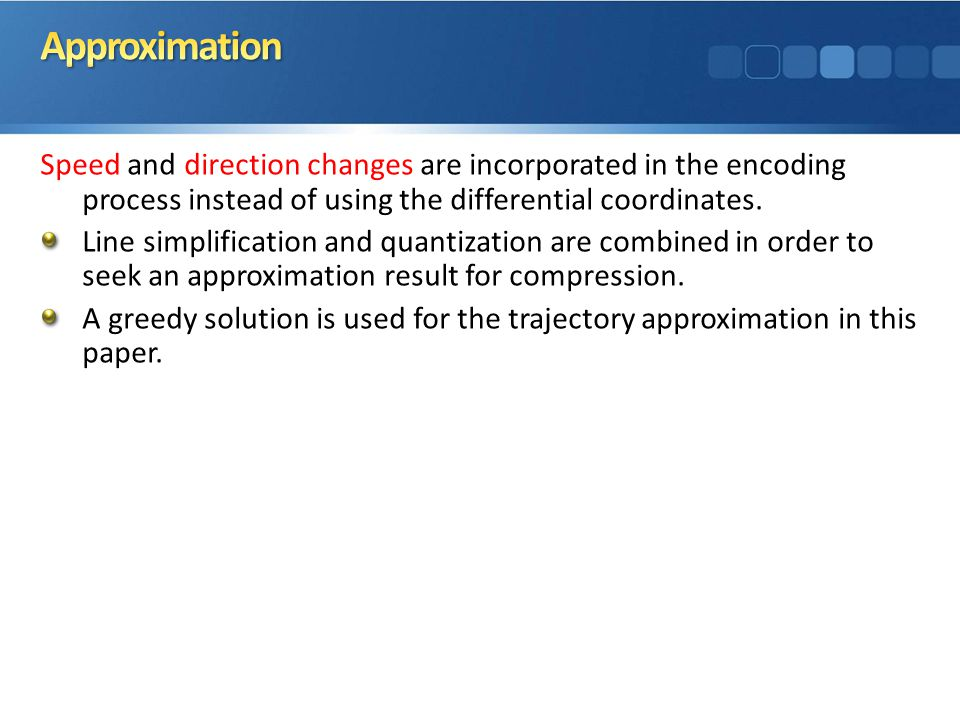 Speed and direction changes are incorporated in the encoding process instead of using the differential coordinates.