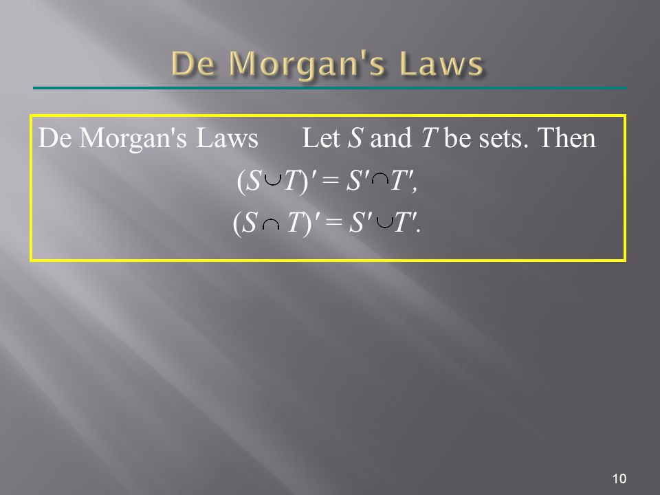10 De Morgan s Laws Let S and T be sets. Then (S T) = S T , (S T) = S T .